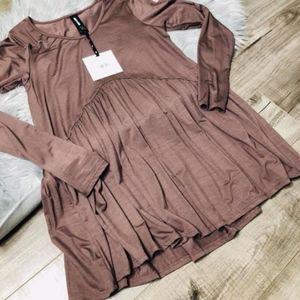 XS silky brown muse top NWT long sleeve A&D